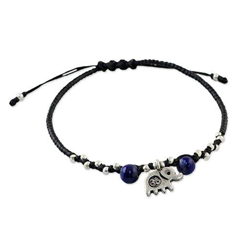 "NOVICA Lapis Lazuli Adjustable Beaded Bracelet with .925 Sterling Silver Elephant Pendant, 7"", Spiritual Elephant"