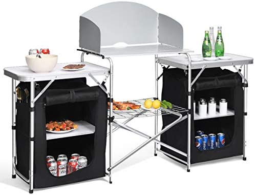 Giantex Folding Camping Kitchen Table w 2 Storage Organizer, Portable Aluminum Windscreen Cooking Table Easy-to-Clean, 2-Tier Outdoor Kitchen Cook Station for BBQ, Party, Picnics, Backyards Black