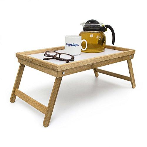 Relaxdays Betttablett Bambus H x B x T: ca. 23,5 x 50 x 31 cm Serviertablett für Frühstück im Bett mit klappbaren Beinen als Tabletttisch und Sofatisch Beistelltisch mit Tablett aus Kunststoff, natur