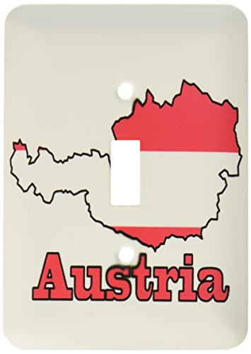 3dRose LSP 57048_ 1de la bandera de Austria en el contorno mapa y nombre del País Austria Interruptor de botón único