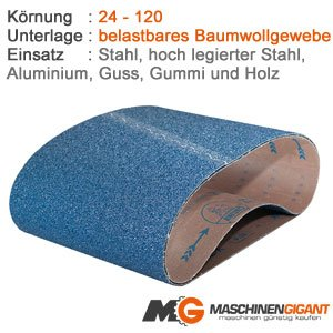 3 Gewebe Schleifb/änder f/ür Metall Holz Made in Germany Lack 50 x 2000 mm Korn 180