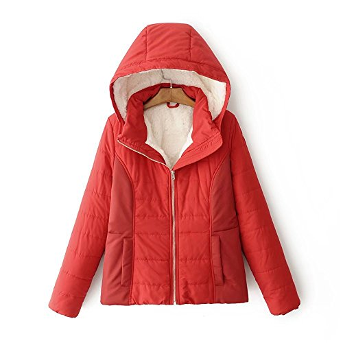 Lsm-Jacket Women's Regular Short Down Jacket Thickened Loose Cotton Coat Red