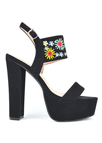 Ankle With 1 Embroidery Chase Shoes Chunky Platform Cali Heel Pump Black Strap Chloe amp; and InpzfwzX