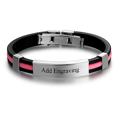 Personalized Engraved Stainless Steel Rubber Bracelet for Men Women Kids DIY Custom Name Date ID Bracelet (Pink)