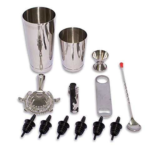 CucinaPrime 13 Piece Stainless Steel Professional Bar Set (2 Cocktail Shakers, Jigger, Speed Opener, Waiters Corkscrew, Strainer, Long Bar Spoon and 6 Black Bottle Pourers)