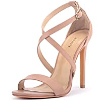 ZriEy Women Stiletto Sandals Cross Strappy High Heels 11CM Open Toe Bridal Wedding Party Shoes