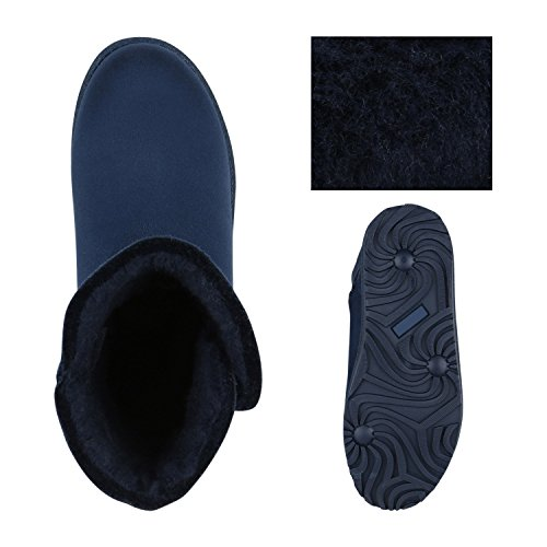 Profilsohle Glitzer Strass Boots Optik Kunstfell Warm Schuhe Blau Damen Knopf Schlupfstiefel Leder Stiefel gefütterte Flandell Stiefel xqzAnYwI