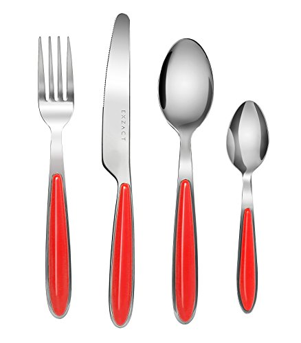 Coloured Plastic Spoons (Exzact 24PCS Flatware Set Colored - Stainless Steel Silverware/Cutlery With Color Handles - 6 x Forks, 6 x Dinner Knives, 6 x Dinner Spoons, 6 x Teaspoons (Red x)