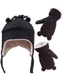 Little Boys and Baby Sherpa Lined Fleece Hat Mitten Set...