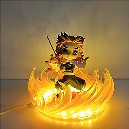 Anime Demon Slayer Kimetsu no Yaiba figura Rengoku Kyoujurou luz de noche LED, lámpara de noche de Anime DIY para niños para regalo infantil
