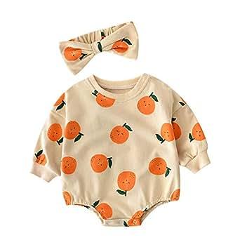 Xifamniy Infant Girls 2pcs Sets Romper Cartoon Fruits Print Cotton Jumpsuit&Headband Khaki