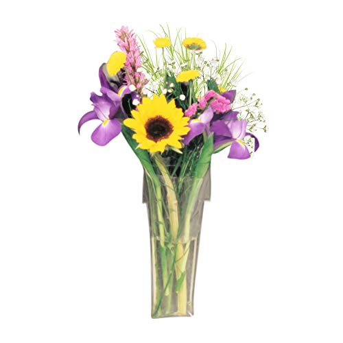 Gadjit Vinyl Window Vase Shaped Like a Flower Pot - Suctions to Windows and Mirrors, Holds Bouquet of Flower Stems and Water, Clear Flexible Vinyl