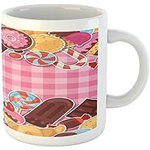 Ice Cream Mug by Ambesonne, Candy Cookie Sugar Lollipop Cake Ice Cream Girls Design, Printed Ceramic Coffee Mug Water Tea Drinks Cup, Baby Pink Chestnut Brown Caramel