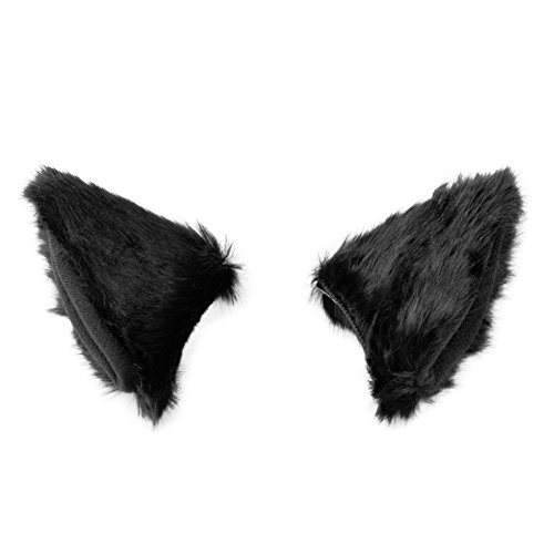 BAOBAO Cat Fox Long Fur Ears Hair Clip Headwear Cosplay Halloween Costume(Black) -