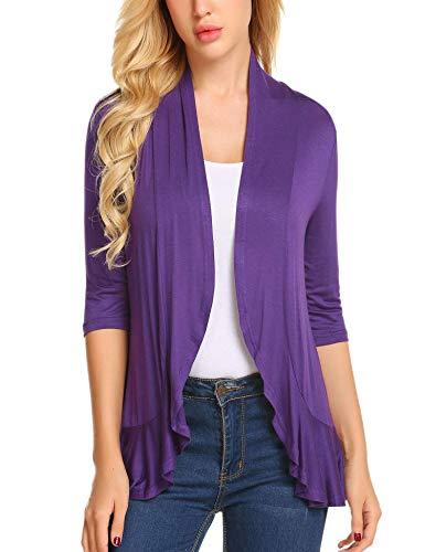 Zeagoo Women's Open Front 3/4 Sleeve Draped Ruffles Knit Cardigan,1-purple,X-Large