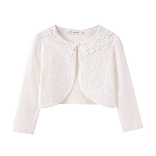 ZHUANNIAN Little Girls' Long Sleeve Lace Bolero Cardigan Shrug(7-8,Off White)