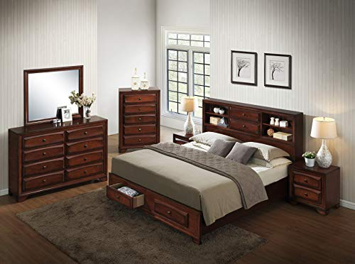 Roundhill Furniture Asger Wood Room Set including Queen Storage Bed, Dresser, Mirror, 2 Night Stands, Chest