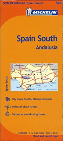Map Of Spain With Distances.Michelin Spain Andalucia Map 578 Maps Regional Michelin