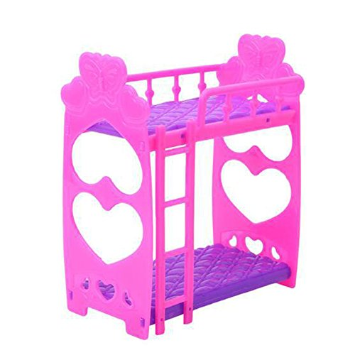 (Barbie Bed Beautiful Plastic Bunk Bed Bedroom Furniture Bed Set for Barbie Dolls Dollhouse, Bedroom Purple Kids Toy Frame Doll Double Bed Dollhouse Girls Gift, (Rose Red)(Rose Red))