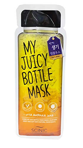 (4 Mask sheets of Scinic My Juicy Bottle Mask Vita Ampuole Juice Facial Mask. Makes your skin refreshing with Vita complex, orange and lemon extracts. (20 Ml Essence/sheet) )