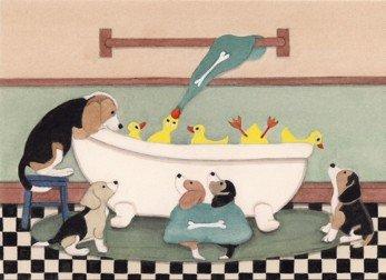 Beagles share bathtub with ducks / Lynch signed folk art print Signed Ducks