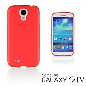 OnlineBestDigital - Transparent Case with White Outlet for Samsung Galaxy S4 IV I9500 / I9505 - Red