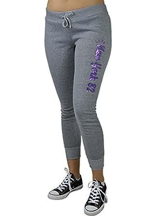 Alfa Global Women's Fleece Love New York 82 Classic Sweatpants Grey XL