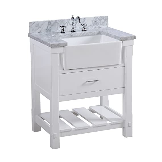 Charlotte 30-inch Bathroom Vanity (Carrara/White): Includes White Cabinet with Authentic Italian Carrara Marble… - HIGH-END FURNITURE-GRADE CONSTRUCTION: All our vanities are made with solid wood and plywood only - absolutely no MDF or cheap particle board anywhere in this product AUTHENTIC MARBLE COUNTERTOP: Beautiful Carrara marble countertop imported from Italy (comes pre-installed on cabinet). Please note, due to natural variation of the stone, each countertop may vary from the pictures. No two slabs of marble are the same! SOFT-CLOSE MECHANISM: We use soft-close door hinges and/or drawer slides for all our bathroom vanities. This feature is typically only found in luxury furniture brands - bathroom-vanities, bathroom-fixtures-hardware, bathroom - 41Z6HdnuBOL. SS570  -