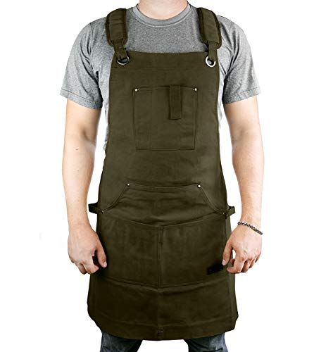 Waterproof Canvas Work Apron for Men and Women, Heavy-Duty Waxed for Durability and Safety (Green)