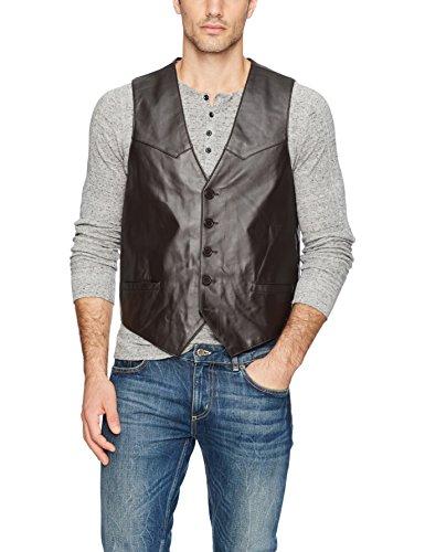 Mens Premium Leather Vest - Excelled Men's Premium Soft Lambskin Leather Vest, Brown, Large