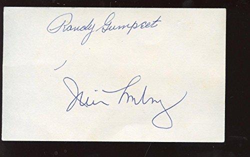 Autographed Mickey Mantle Photograph   Randy Gumpert   Jim Lonborg Index Card Hr Pitchers Hologram   Autographed Mlb Photos