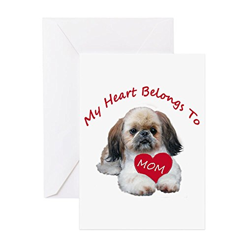 CafePress Shih Tzu Belongs To MOM Greeting Cards Greeting Card, Note Card, Birthday Card, Blank Inside Glossy