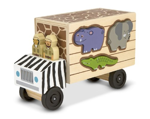Melissa & Doug Animal Rescue Shape-Sorting Truck - Wooden Toy with 7 Animals and 2 Play Figures]()