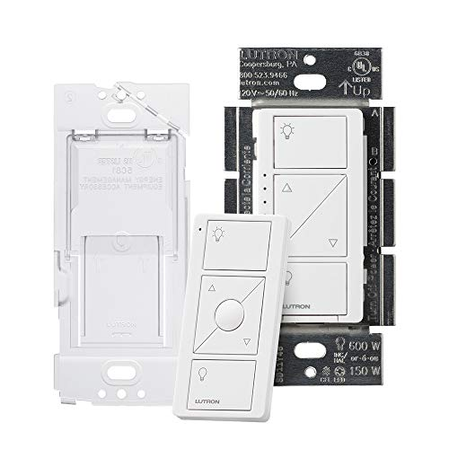 (Lutron Caseta Wireless Smart Dimmer Switch and Remote Kit, P-PKG1WB-WH White)