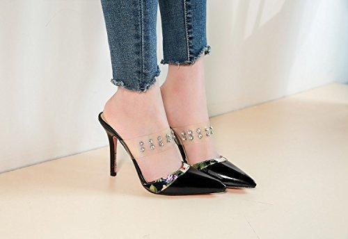JUWOJIA Señaló Verano Transparente Remaches De Amarre La Mujer Diamante High-Heeled Sandals Sandalias De Mujer De Color Negro De 4,5
