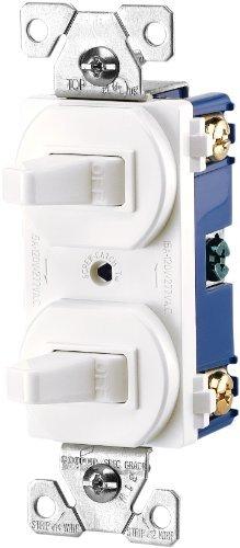 EATON 271W-BOX Arrow Hart 271W Duplex Grounding Toggle Switch, 120/277 Vac, 15 A, 1 Pole White
