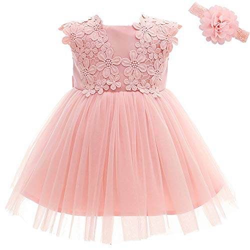 Baby Girl Dress Christening Baptism Gowns Flower Girl Dress, Pink, 12
