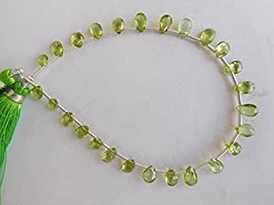 "Peridot Natural Gemstone–4x 6, 5x 7mm facetado de pera forma perlas 8""Strand"
