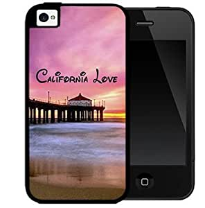 California Love with Beach Scene and Pink Sky Sunset (iPhone 4/4s) 2-piece Dual Layer High Impact Black Silicone Cover Case