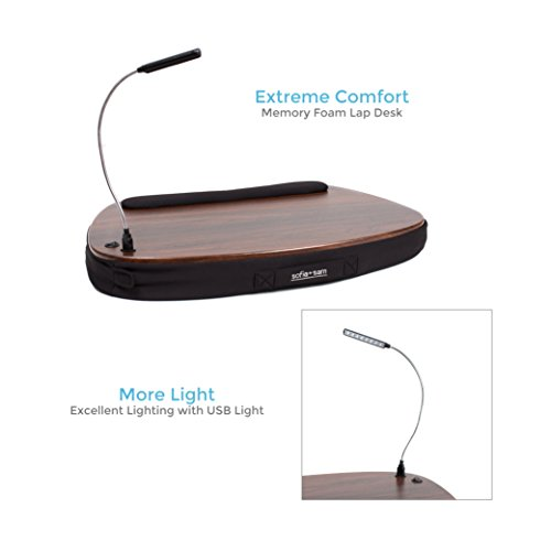 Sofia + Sam Oversized Memory Foam Lap Desk with Detachable USB Light (Black) | Supports Laptops Up to 20 Inches by Sofia + Sam (Image #3)