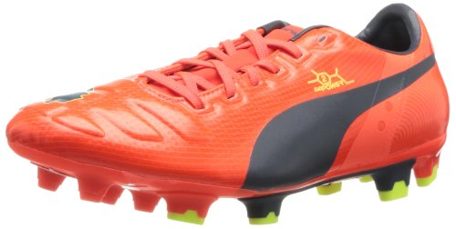 PUMA Men's evoPOWER 2 Firm Ground Soccer Shoe,Fluorescent Peach/Ombre Blue/Fluorescent Yellow,10.5 M US
