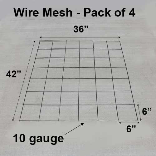 CS Rebar Welded Wire Mesh 36 inch X 41 inch 10 Gauge Steel, 6 inch Squares - Pack of 4