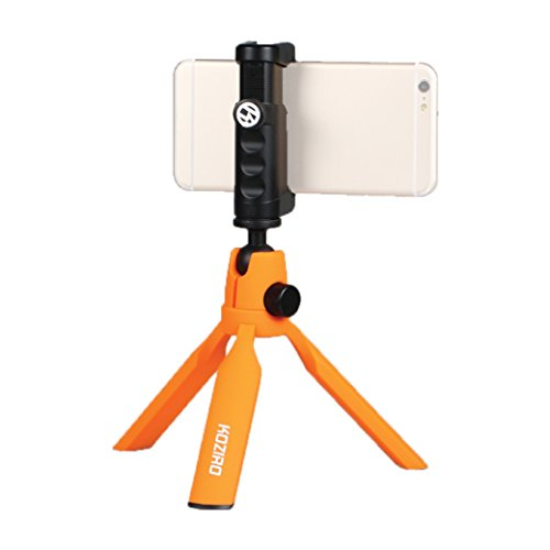 Koziro Mini Tabletop Tripod Kit: Universal Smartphone Clamp, Quick Release Ballhead, Hand Grip Rig, Cold Shoe Mount for Apple iPhone iOS & Samsung Galaxy Android Photo Video Camera (Orange)