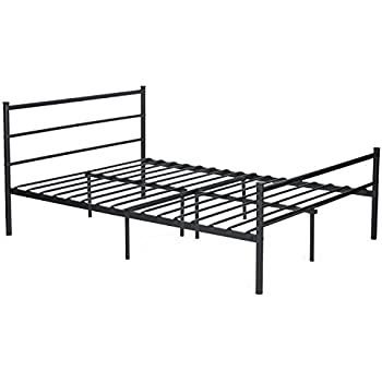 Amazon.com: Metal Bed Frame Full Size, GreenForest Two Headboards 6 ...