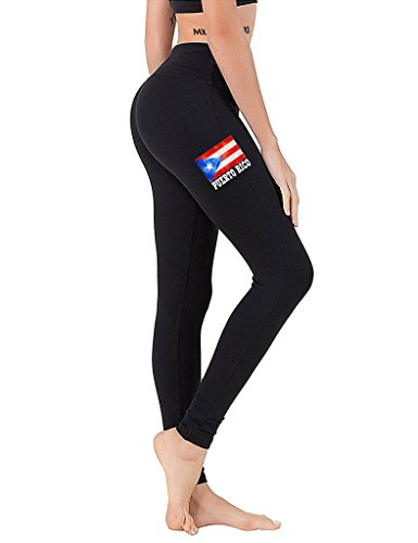 Junior's Puerto Rico Flag Chest Black Athletic Workout Leggings One Size Fit Most (Best Diving In Puerto Rico)