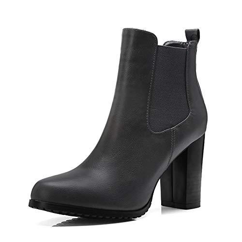 De Chelsea Mujer Botines Alto Gray Zapatos Negro Hoesczs Retro Botas Marca Tacón Gran Gris Tamaño 34 43 AP71qx