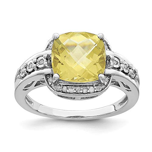 - Size 7 Solid 925 Sterling Silver Diamond & Checker-Cut Lemon Simulated Quartz Ring (2mm)