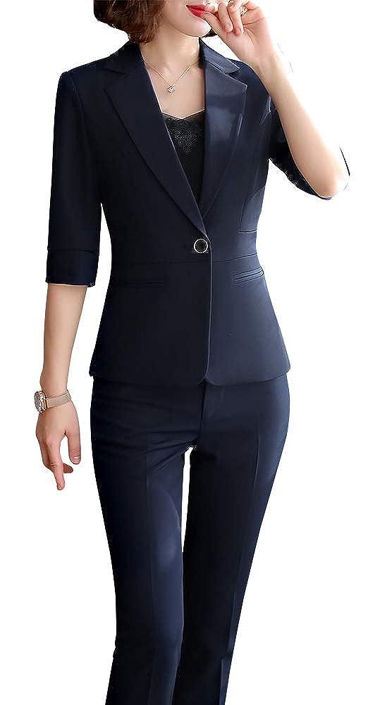 blueekz806 LISUEYNE Women Blazer Two Pieces Work Office Blazer Suit Formal Business Suits for Women Blazer Jacket &Pant Skirts