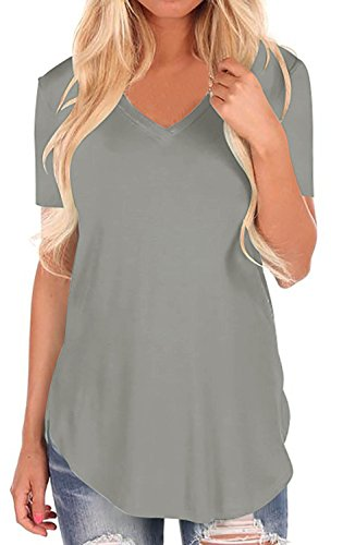 StyleDome Women V Neck Casual Blouse Shirts Short Sleeve Asymmetrical Hem Solid Plain Long Tee Tops Grey US 18 by StyleDome (Image #2)