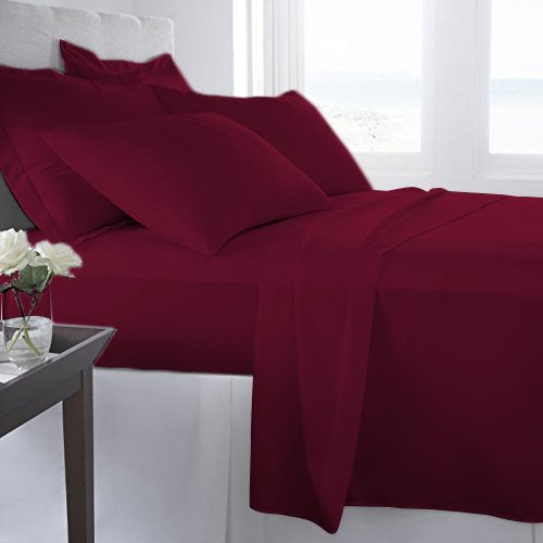 Thread Spread Hotel Collection 600 Thread Count Egyptian Cotton Sateen Twin 4 Piece Sheet Set Burgundy 4 Piece Twin Bedroom Set